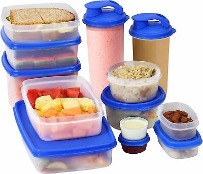 I-FRESH Meal Prep Lunch Food Containers with Lids + 2 Sipping Cups -13 Piece Set