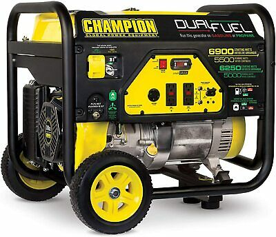 Champion 6900-w Hybrid Dual Fuel Gas Powered Portable Generator With Wheel Kit