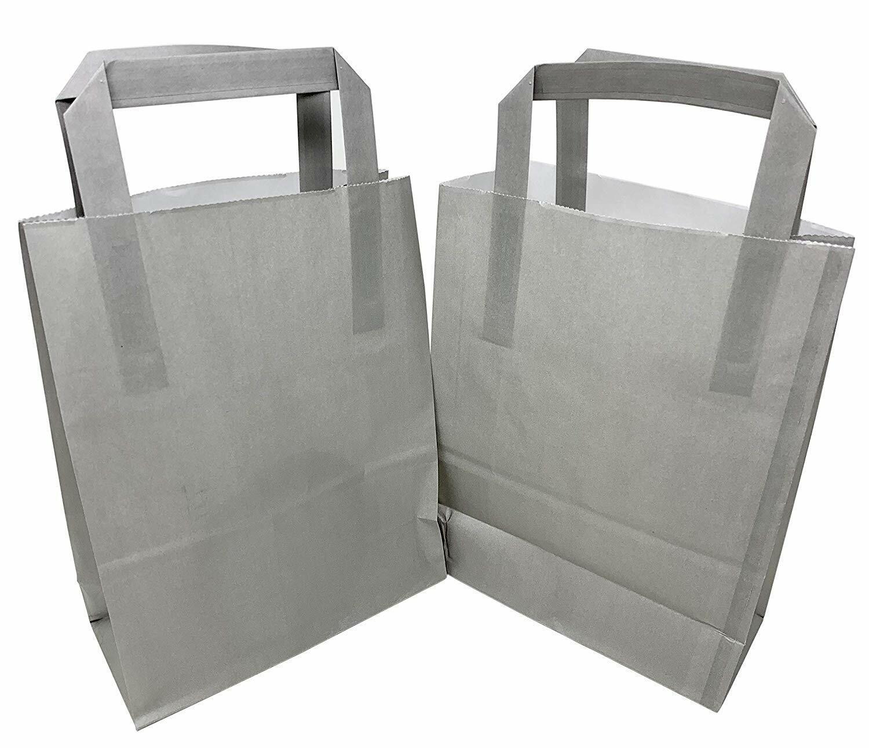 Hot Neon Fuschia Pink Kraft Paper Bags with Flat Handles 18cm x 23cm  x 8.5cm