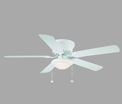 Hugger Low Profile Ceiling Fan Flush Mount Frosted Light Reversible Blades White
