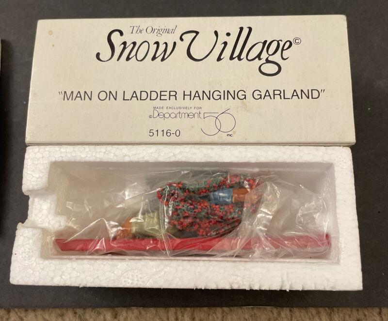 Dept 56 Snow Village MAN ON LADDER HANGING GARLAND  Accessory In Box 5116-0 NIB