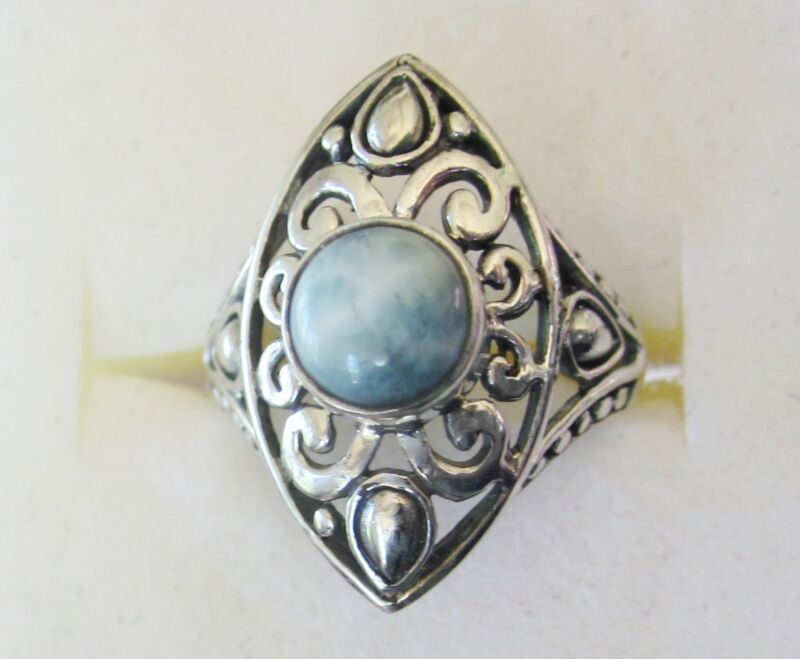 Larimar Ring in 925 Sterling Silver sz 5.5