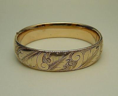 Vintage Gold Filled Gold Tone Hinged Bangle Bracelet Engraved Swirls Feathers