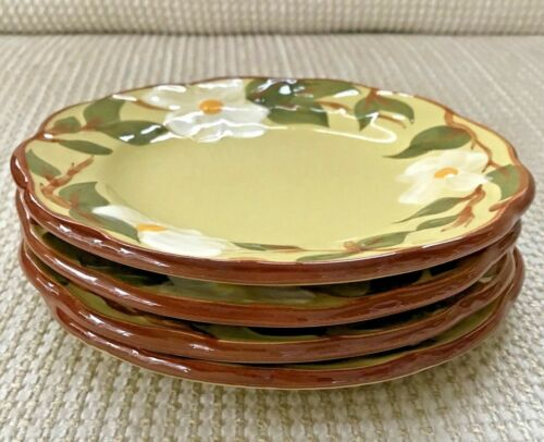 """(4) Stangl Pottery WHITE DOGWOOD 6"""" Bread & Butter Plates Hand-Painted Vintage"""