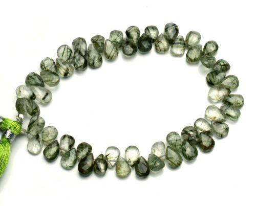 "Natural Gem Green Rutile Quartz 9x6MM Size Pear Shape Briolette Beads 8.5""Strand"