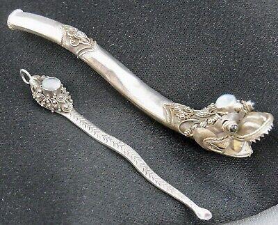 Zigarettenspitze und Löffel 925/- Drachen China mit Opal-Dublette