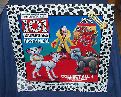 Rare 1991 Mcdonalds 101 Dalmatians Happy Meal Toys Menu Display Board Disney