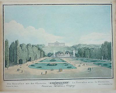 Artaria: Orig. altkol Kupferstich Ansicht Wien Schönbrunn Garten Gloriette; 1830