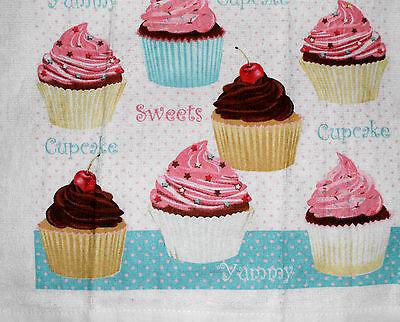 Kitchen Dish Towels W Crochet Tops - Cupcake - Listing # t139