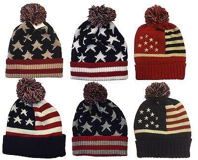(Winter Knit Cap Beanie Women Men Ski Knit Pom Pom American Flag Beanie Cap Hat )