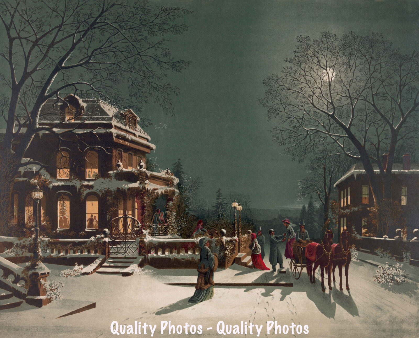 Old Fashioned Christmas Pictures.Details About Old Fashioned Christmas Eve 8 5x11 Photo Print Xmas Decoration Street Scene
