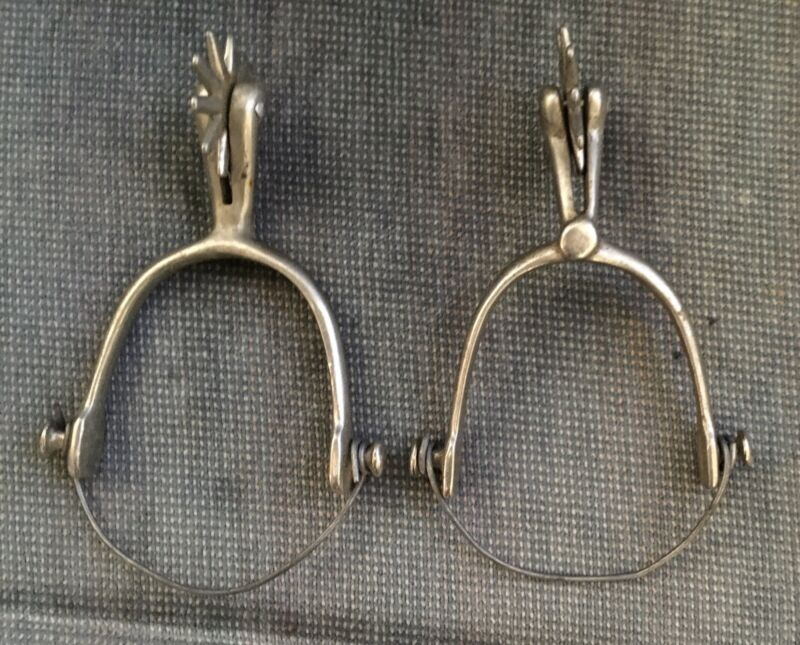 Vintage Western Cowboy Silver Colored Spurs Pair Boot Rodeo Decor Free Shipping