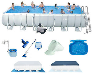 Intex ultra frame pool ebay for Rechteck pool stahlwand