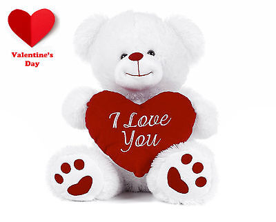 Romantic White Teddy Bear Holding Red Heart With I Love You Romantic Love Gift