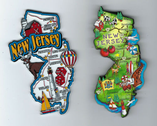 NEW JERSEY JUMBO MAP MAGNET  and  ARTWOOD   STATE MAP   MAGNET   SET OF 2 NEW