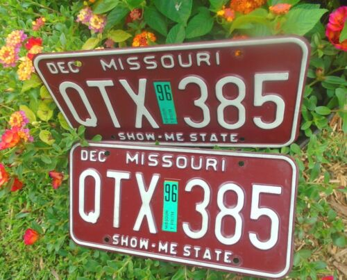 Vintage Missouri 1996 Pair License Plates # QTX-385 MO