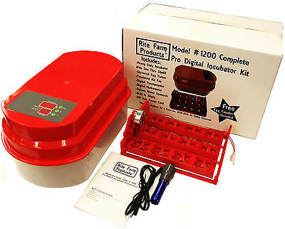 Blu Rite Farm 1200 Pro Digital 48 Quail 12 Chicken Egg Incubator Kit Turner Fan