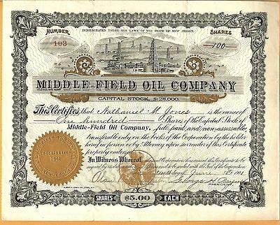 1901 Middle-Field Oil  Company Stock Certificate  New Jersey NJ
