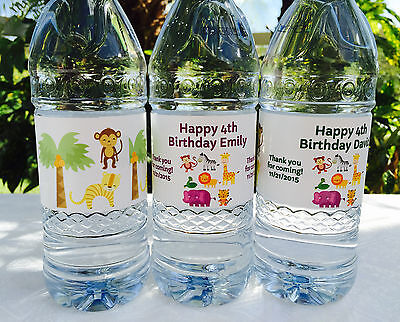 20 PERSONALIZED SAFARI Birthday Waterproof WATER BOTTLE LABELS for Party Favors! (Personalized Labels For Water Bottles)