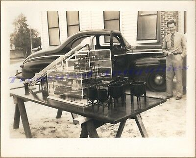 1940s Man with 1946-1948 Ford Deluxe Coupe & Magnesium Foundry Scale Model Photo