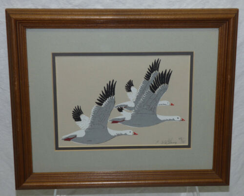 Vtg SIGNED Catherine McClung Framed Block Print Snow Goose Geese Bird LE 48/75