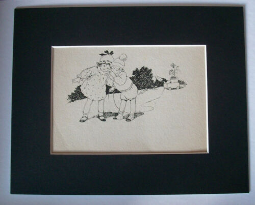 Print Children Garden Secrets Toy Wagon 1930s Bookplate 8x10 Matted Adorable