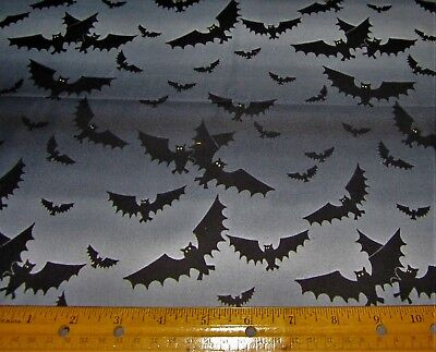 1 yard of BLACK FLYING BATS on SHADED GREY SKY 100% Cotton Fabric