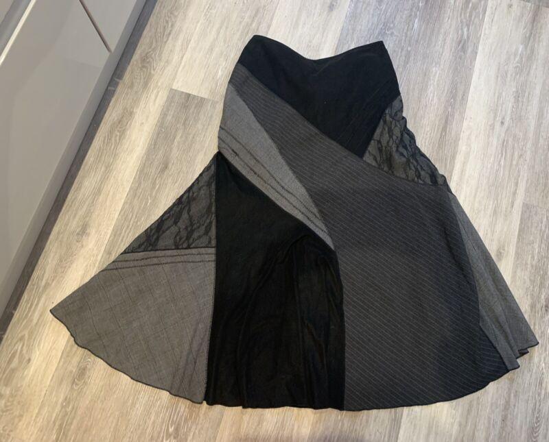 Per Una Black Grey Panelled Patchwork Tweed Suede Flare Maxi Skirt Steampunk 12