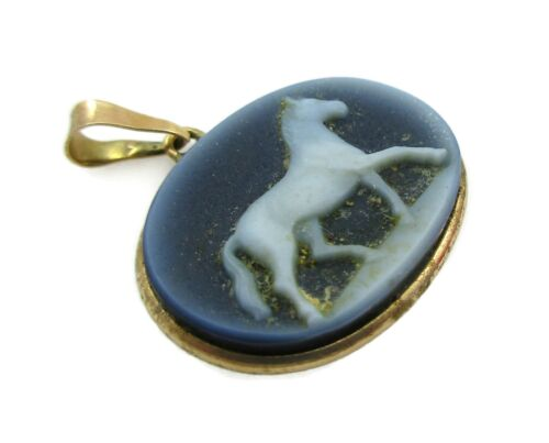 Beautiful Horse Blue Composite Cameo ITALY 14K Yellow Gold Pendant 1.9 G