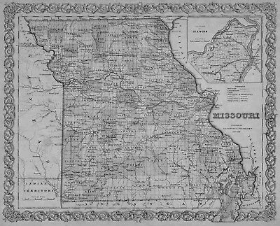 1855 MISSOURI MO MAP Overland Old Jamestown Ozark Pacific Park Hills Parkville