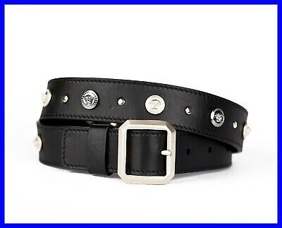 NEW VERSACE BLACK LEATHER BELT with SILVER and GOLD PLATED MEDUSA STUDS 85/34