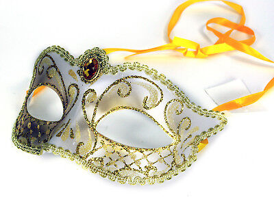 Masquerade Mask White Gold White Crystal Party Prom Fancy Dress Decor Costume