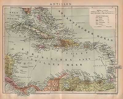 Die Antillen Cuba Haiti Puerto Rico Trinidat  historische Landkarte 1892 ()