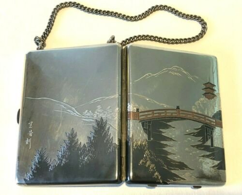 VINTAGE STERLING SILVER LADIES COMPACT OR CIGARETTE CASE W/ CHAIN ASIAN DESIGN