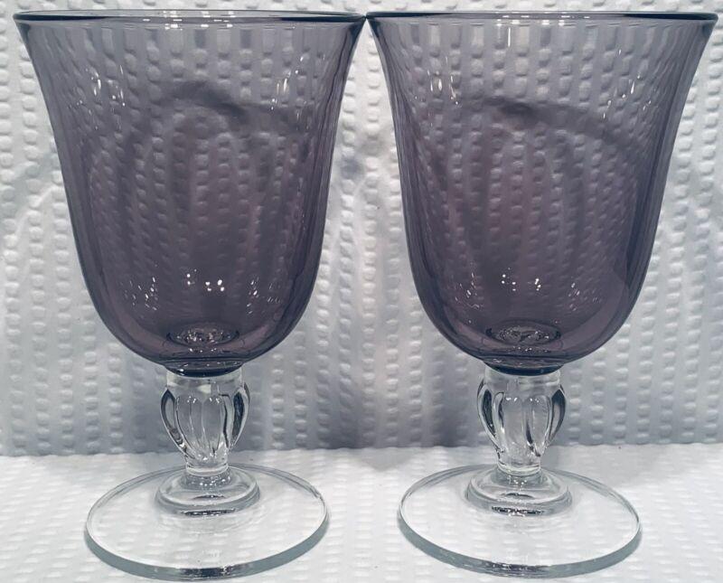 "Lot Of 2 ~ 6 5/8"" Amethyst/Purple Wine Glass With Ornate Ball Base ~ Elegant"