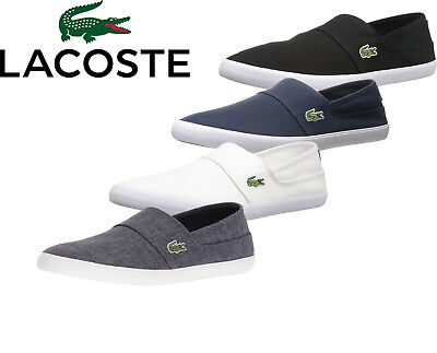(Mens Lacoste Marice BL 2 Shoes Black Slip On Canvas Shoes 7-33CAM1071-024 NEW)