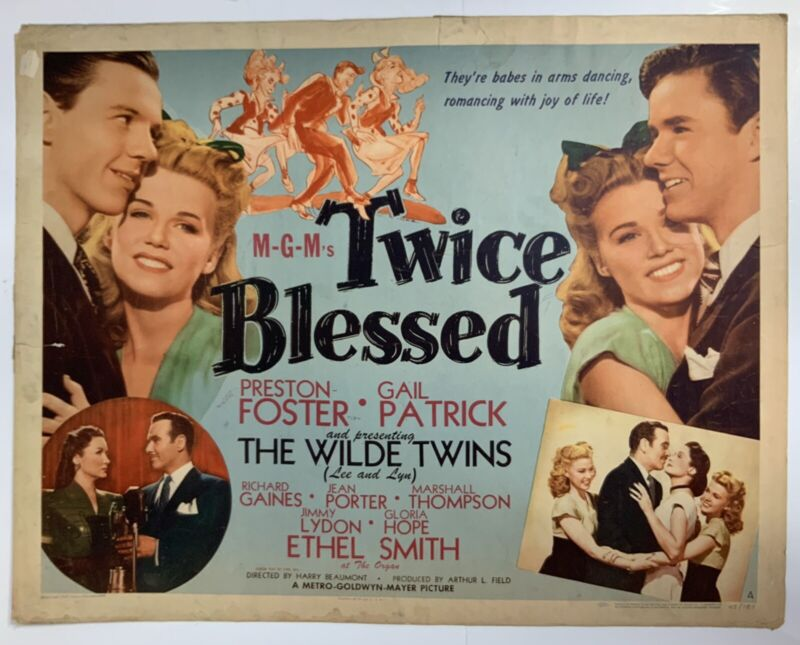 Twice Blessed 1945 Original Movie Poster The Wilde Twins YeOldePosterCom