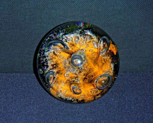 Vintage Caithness Scotland Art Glass Orb/Paperweight Orange & Black Seadance