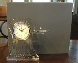 Waterford Crystal LISMORE Large Clock Desk Mantle 6.5 in Box