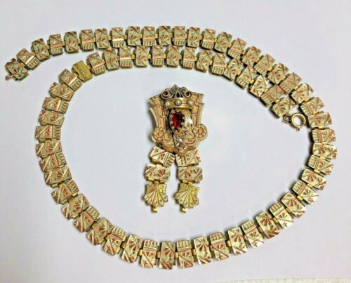 Antique Victorian Gold Filled Fancy Book Chain Necklace & Jeweled Pin