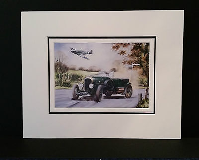 3 Litre Bentley (1927) & Spitfire MkV by Bob Murray Open Edition Print Mounted