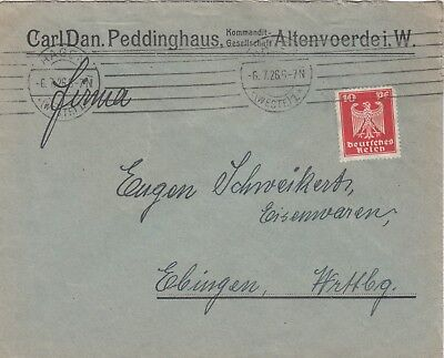 ALTENVOERDE, Briefumschlag 1926, Carl Dan. Peddinghaus KG