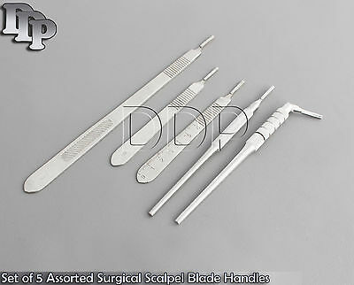 Set Of 5 Assorted Surgical Scalpel Blade Handles Flat Round 3 3l