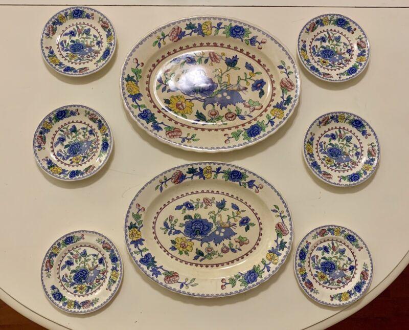Masons Regency Plantation Colonial 2 Oval Platters, 6 Salad/Desert Plates