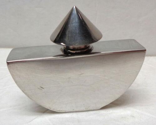 "Spec EFX Sheffield Handcrafted 2½"" Silver Metal Art Deco Memphis Perfume Bottle"