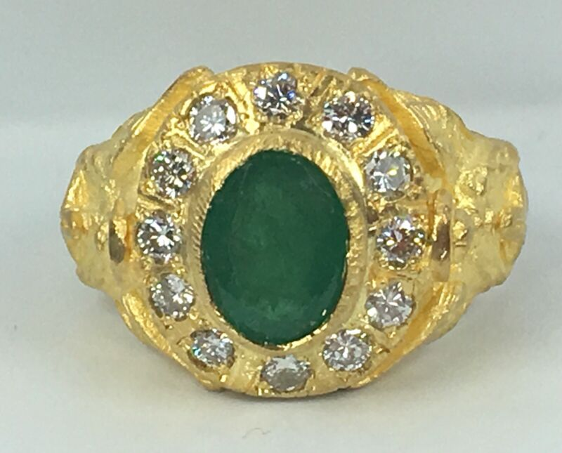 2.50 Ct Natural Diamond & Emerald Mens Pinky Ring Solid 24k Yellow Gold