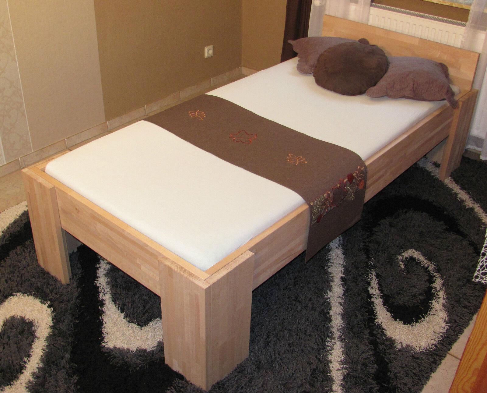 27mm bett vollholz echtholz massivholzbett 100x200 einzelbett buche fu i eur 189 00 picclick de. Black Bedroom Furniture Sets. Home Design Ideas