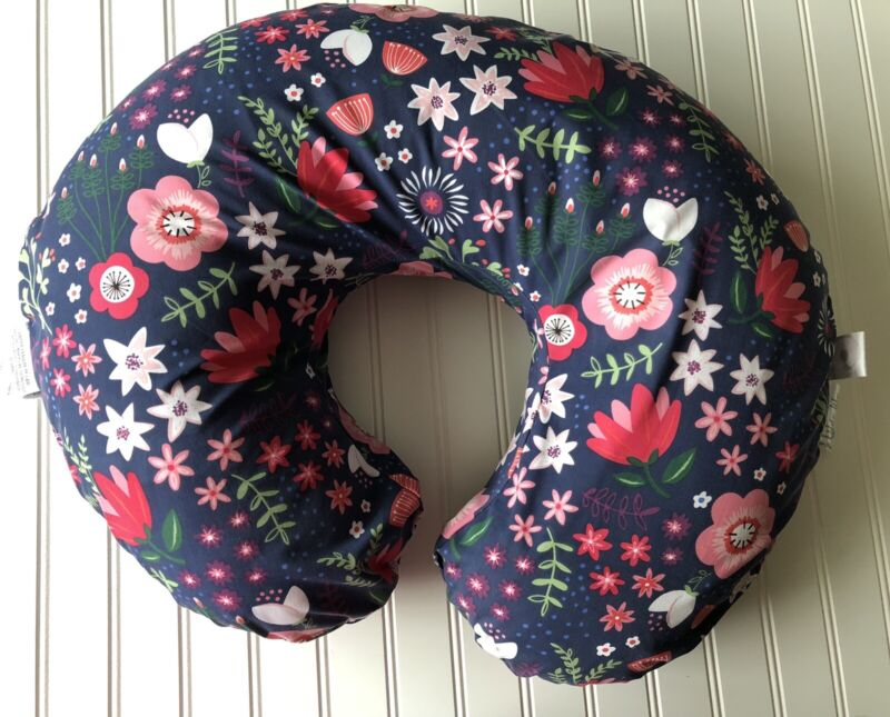 Boppy Nursing Baby Infant Girl Pillow Blue Floral Feed Prop Sitting Tummy Time