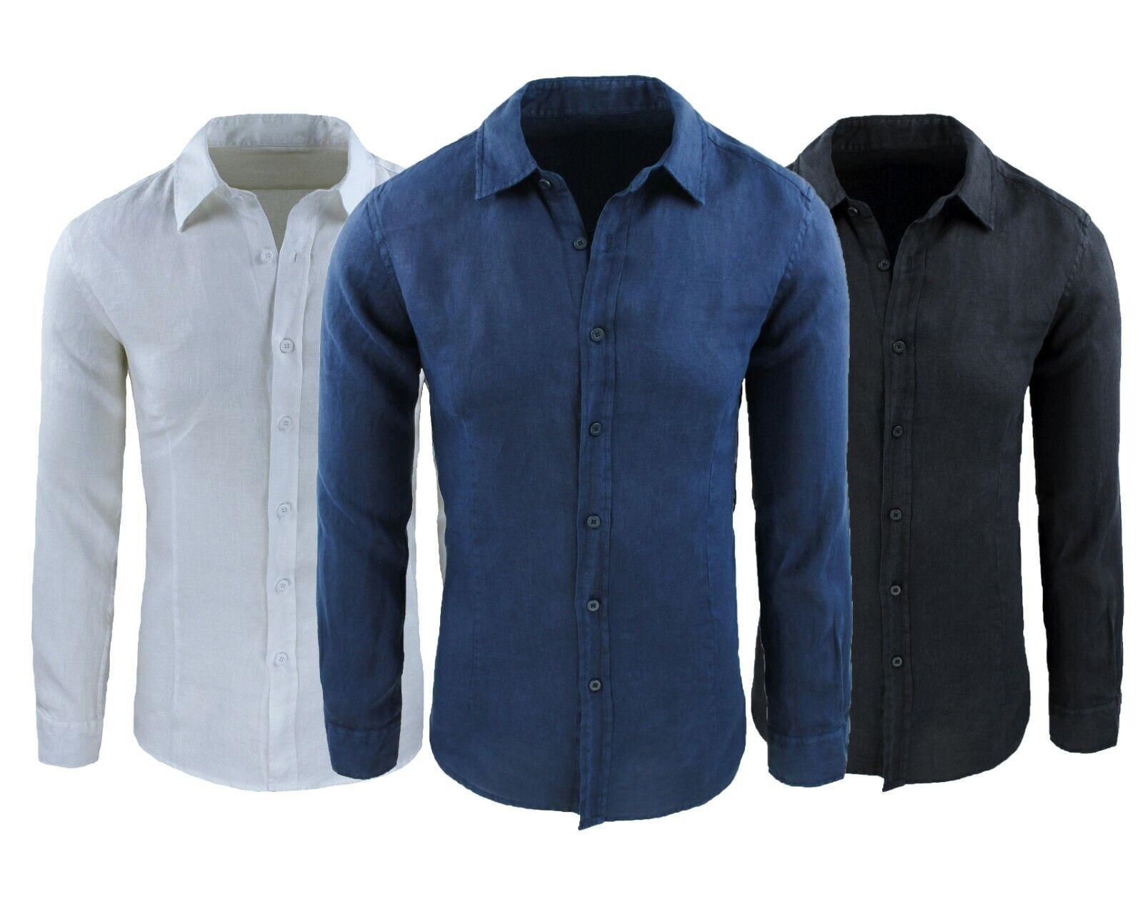 Diamond camicia di lino uomo Serafino estiva nero casual con collo alla coreana