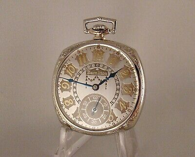 """96 YEARS OLD HAMILTON """"922"""" 23j 14k GOLD FILLED OPEN FACE 12s GREAT POCKET WATCH"""